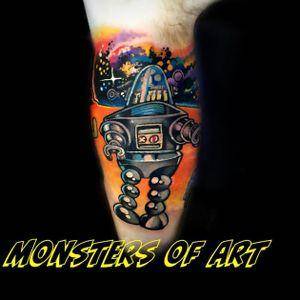 Robot tattoo by Dan Gold #dangold #londonink #robot #nuschool #newschool #graffiti #popart (Photo: Instagram)