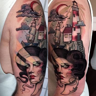 A lovely lady head with beaming eyes before a maritime scene by Hannah Flowers (IG—hannahflowers_tattoos). #clipper #HannahFlowers #ladyhead #lighthouse #maritime #neotraditional #painterly