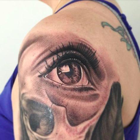 Realistic eye tattoo done by Nate Graves. #NateGraves #Sacred #realisticeye #michigan #blackandgrey #realistic #eye #iris