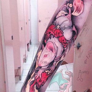 Neo-traditional albino rat tattoo by Brando Chiesa. #BrandoChiesa #neotraditional #albino #creature #animals #rat #japanese
