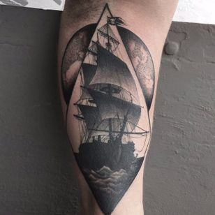 Ship Tattoo by Johannes Folke #ship #blackworkship #blackwork #blackink #illustrative #JohannesFolke