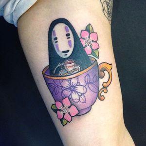 No-Face in a teacup tattoo by Carly Kroll. #CarlyKroll #girly #pinkwork #cute #neotraditional #popculture #kawaii #noface #studioghibli #spiritedaway #anime #teacup