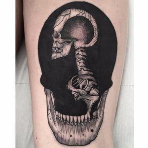 Surrealistic skull tattoo by Abes #Abes #blackwork #surrealistic #skull
