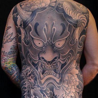 Hannya backpiece tattoo by Bill Canales #BillCanales #besttattoos #blackandgrey #Hannya #mask #Japanese #peony #snake #serpent #reptile #animal #demon #yokai #clouds #horns #fangs #smoke #tattoooftheday