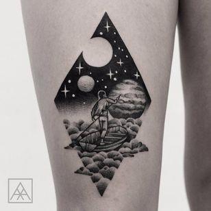 Pink Floyd Acid Trippin' by Max Vorax #MaxVorax #blackandgrey #illustrative #blackwork #newtraditional #stars #moon #solarsystem #galaxy #planet #moon #clouds #sailing #boat #pinkfloyd #musictattoo #tattoooftheday