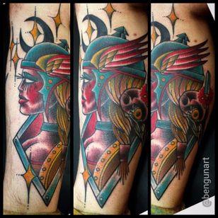 Valkyrie Tattoo by Ben Gun #ValkyrieTattoo #Valkyrie #NorseMythology #NorseTattoos #NordicTattoo #BenGun