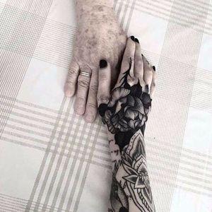 Old meets new by Kelly Violence #KellyViolence #blackwork #blackandgrey #linework #rose #thorns #leaves #nature #pattern #tattoooftheday