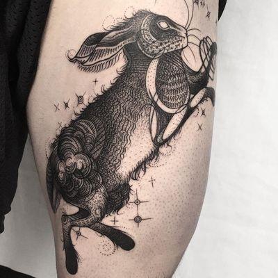 Bunny tattoo by Kelsey Moore #KelseyMoore #bunnytattoo #linework #dotwork #blackwork #illustrative #bunny #rabbit #nature #stars