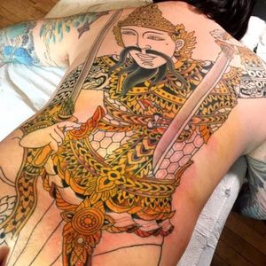 The warrior is looking badass with some color and detail. Tattoo by Chris O'Donnell. #ChrisODonnell #TraditionalJapanese #KingsAvenueTattoo #NewYorkTattooer #oriental #easternculture #warrior #asianart