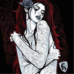 Pin-up angel by OG Abel #OGAbel #art #chicano #blackandgrey #pinup #angel