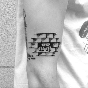 Fun tattoo by Dalas #Dalas #blackwork #cartoon #comics #popart #surrealistic