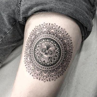 Skull mandala tattoo by Kristi Walls #KristiWalls #besttattoos #blackandgrey #linework #skull #mandala #newtraditional #pattern #filigree #floral #bones #sugarskull #leaves #web #tattoooftheday