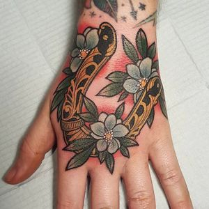 Horseshoe tattoo by Stef Neale. #StefNeale #horseshoe #neotraditional #horseshoe #classic #staple #goodluck