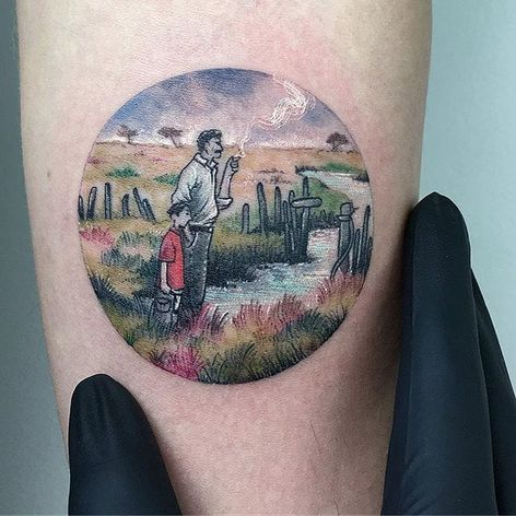 A father and son hang out by a brook, by Eva Galipdede. (via IG—evakrbdk) #microtattoo #microscenery #circlescene #tinytattoo