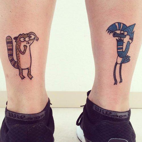 Mordecai e Rigby por Abel tattoo! #Abeltattoo #cartoonnetwork #cartoon #nerd #geek #cartoon #regularshow #apenasumshow #rigby #rigbytattoo #mordecaitattoo #mordecai