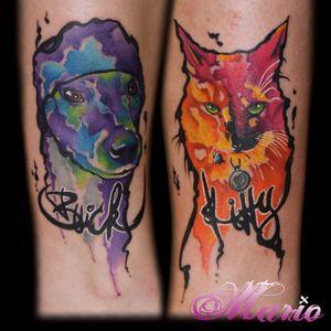 Homenagem aos bichíneos! #InkedByMario #MarioGregor #aquarela #watercolor #TatuadorGringo #colorida #colorful #cachorro #dog #gato #cat #catlover