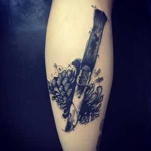 Knife tattoo by Kevin Plane #KevinPlane #sketchstyle #sketch #blackwork #pinecone #knife
