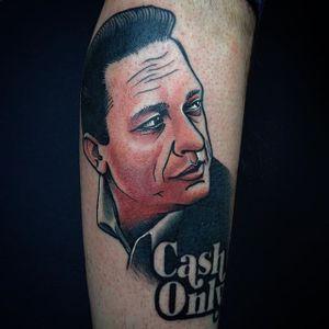 Johnny Cash Tattoo by Boryslav Dementiev #johnnycash #traditional #traditionalportrait #popculture #popcultureportrait #popart #BoryslavDementiev