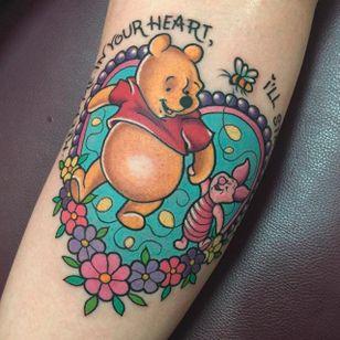 Winnie the Pooh and Piglet. (via IG - sarahktattoo) #Disney #DisneyTattoos #winniethepooh #Piglet