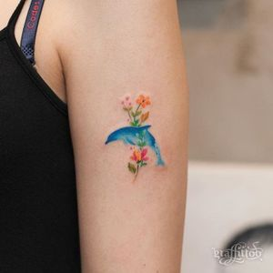 Miniature floral dolphin tattoo by @graffittoo. #miniature #cute #floral #dolphin #graffittoo