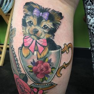 Cute yorkie pup in a teacup. Tattoo by Charlotte Timmons. #neotraditional #dog #pup #puppy #yorkie #teacup #cute #CharlotteTimmons