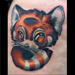 Red panda tattoo by Rude Eye #RudeEye #newschool #animal #cute #kawaii #babyanimal #redpanda