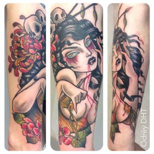 Femme fatale tattoo by Odrëy #Odrëy #illustrative #newschool #neotraditional #lady #femmefatale