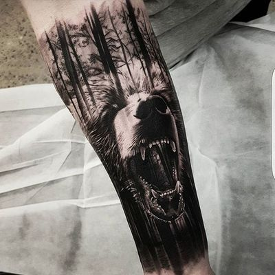 "A fearsome grizzly bear mashed up with its natural environment by Benji ""Roketlauncha"" Ortega. #BenjiRoketlaunchaOrtega #bear #blackandgrey #dark #forest #realism #surrealism"