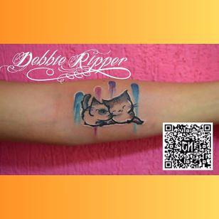 Cute watercolor cat tattoo by Debbie Ripper. #watercolor #DebbieRipper #cute #cat