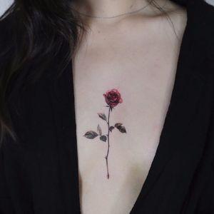 Tiny rose by Tattooist Flower #TattooistFlower #color #realism #realistic #hyperrealism #rose #leaves #thorns #nature #flower #tattoooftheday