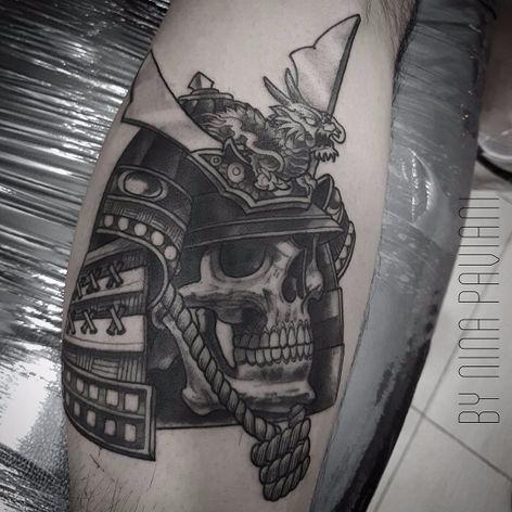Tattoo por Nina Paviani! #NinaPaviani #tatuadorasbrasileiras #tatuadorasdobrasil #tattoobr #tattoodobr #skull #caveira #crânio #samurai