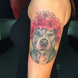 Pit bull and flowers tattoo by Mike Groves. #neotraditional #styledrealism #flowers #dog #pitbull #MikeGroves