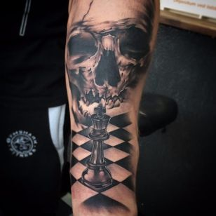 Skull and chess piece by Jonas Bødker. #blackandgrey #realism #JonasBødker #chess #skull