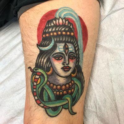 Tattoo by Robert Ryan #RobertRyan #color #traditional #Hindu #surreal #Shiva #cobra #snake #naga #lotus #moon #pearls #light #enlightenment #deity #god