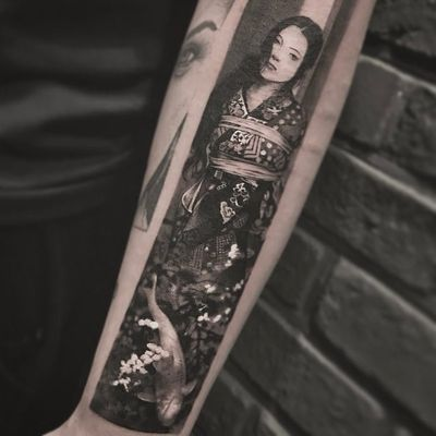 Araki tattoo by Cold Gray #ColdGray #blackandgrey #realism #realistic #hyperrealism #portrait #kimono #pattern #flowers #floral #shibari #Araki #cherryblossom #koi #fish #lady