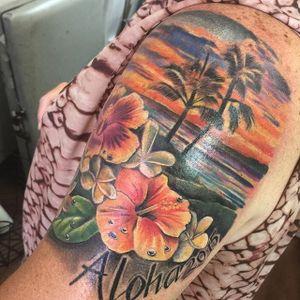 Hawaiian themed hibiscus half sleeve by Joshua Stewart. #hawaii #beach #frangipani #flower #hibiscus #JoshuaStewart