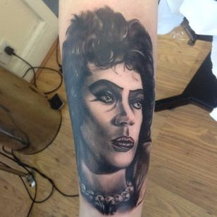 Rocky Horror Picture Show tattoo by Shelley Williams. #rockyhorror #rockyhorrorpictureshow #theater #film #classic #blackandgrey