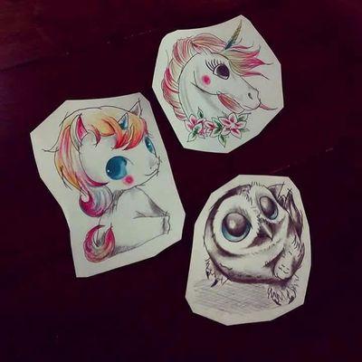 Rafael Barcellos #RafaelBarcellos #Inktober #desenho #drawing #desafio #challenge #tatuadoresdobrasil #fofos #cute #unicornio #unicorn #coruja #owl