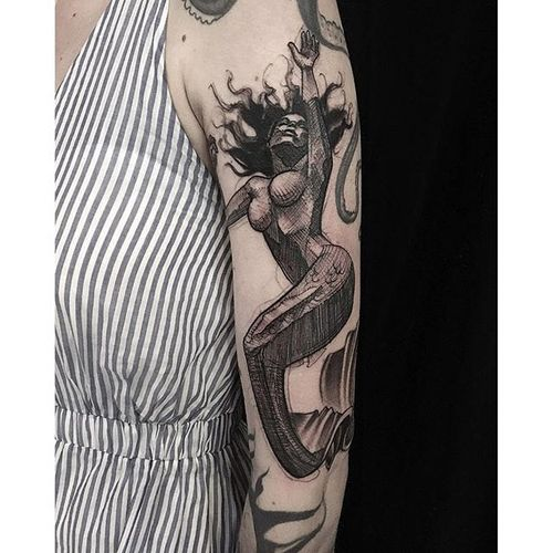 Mermaid tattoo by Mike Riina. #MikeRiina #sketch #blackandgrey #mermaid #woman