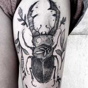 Beetle tattoo by Gaston Tonus #GastonTonus #sketch #surrealistic #graphic #monochrome #monochromatic #blackwork #dotwork #beetle #insect