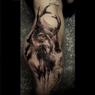 Owl tattoo by Florian Karg #Florian Karg #trashstyle #trashart #trash #trashpolka #realistic #dark #horror #graphic #owl