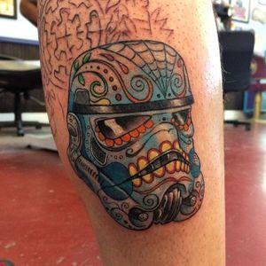 Sugar Skull Stormtrooper Tattoo by Shaun Dubin #stormtroopersugarskull #stormtroopertattoo #stormtrooper #sugarskull #sugarskulltattoo #dayofthedead #starwars #starwarstattoo #ShaunDubin