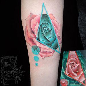 Geometric Rose by Chris Rigoni (via IG-chrisrigonitattooer) #flower #watercolor #surrealism #geometric #pastel #chrisrigoni
