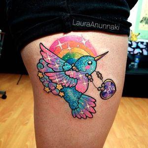 Rainbow tattoo by Laura Anunnak. #LauraAnunnaki #rainbow #love #positivity #kawaii #bird #sparkly #girly