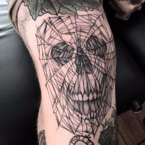 Spiderweb skull by Sera Helen #SeraHelen #linework #blackwork #dotwork #skull #spiderweb #pattern #death #oldschool #tattoooftheday