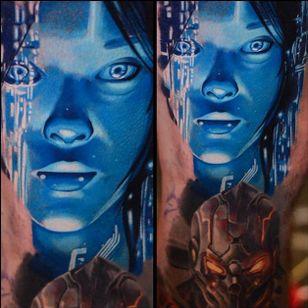 Cortana tattoo by Ben Ochoa. #BenOchoa #colorrealism #popculture #halo #videogames #cortana