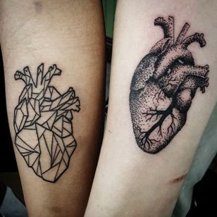 Heart Tattoo by Dylan Sartin #matchingtattoos #couplestattoos #couple #DylanSartin