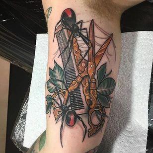 Scissors tattoo by Sadee Glover. #scissors #hairdresser #comb #rose #spider #SadeeGlover