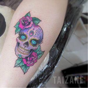 #sugarskull #caveira #skull #colorida #colorful #Taizane #TaizaneTatuadora #brasil #brazil #portugues #portuguese