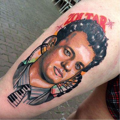 Big tattoo by Gibb0o #Gibb0o #movietattoos #color #newtraditional #portrait #TomHanks #Big #zoltar #amusementpark #rollercoaster #piano